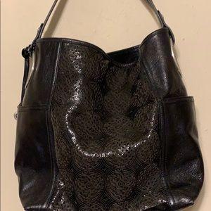 Brighton large leather shoulder bag w/medallions